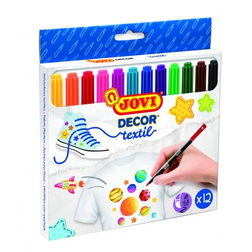 Marker pentru textile 12 culori/cutie Jovidecor Textil