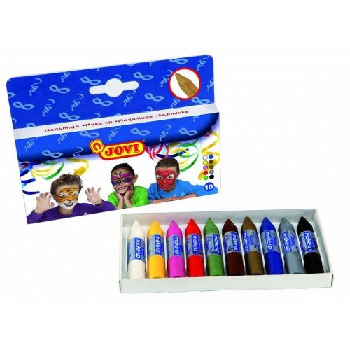 Creioane de pictat pe fata 10 culori 5,6 gr/set Jovi
