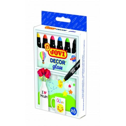 Marker cerat pentru sticla 6 culori/cutie Jovi