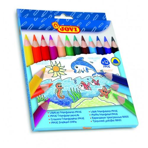 Creioane colorate din lemn 12 culori/set Maxi Jovi