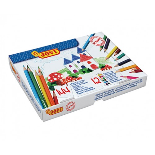 Creioane colorate din lemn 144 bucati/set 12 culori Jovi