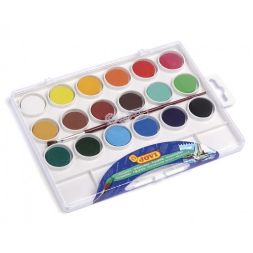 Acuarele 18 culori/set (22 mm diametru)+ pensula Jovi