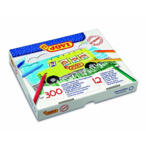 Creioane cerate hexagonale 300 buc/set 12 culori Jovi