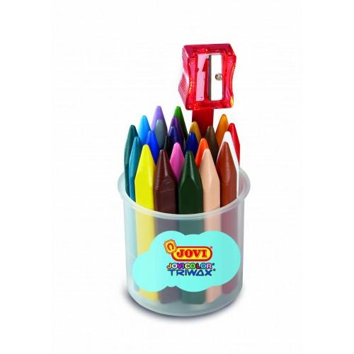 Creioane cerate triunghiulare 24 culori/suport Jovi