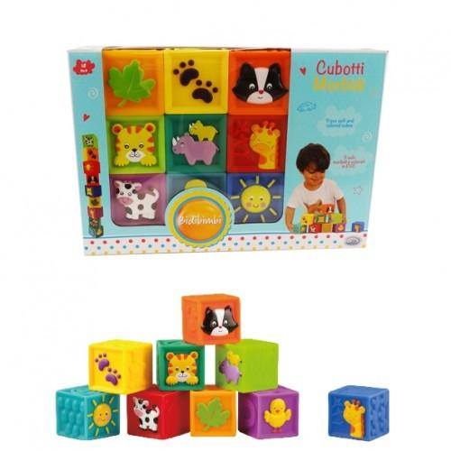 Set 9 cuburi PVC cu imagini 2D pe fiecare fata 5.5 cm Bidibimbi