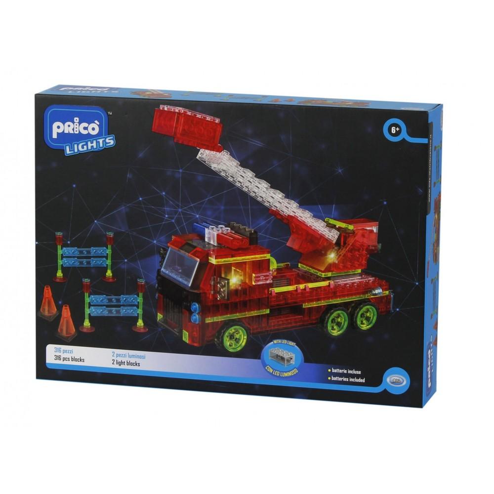 Set constructie Masina de pompieri cu led 337 piese Prico Lights