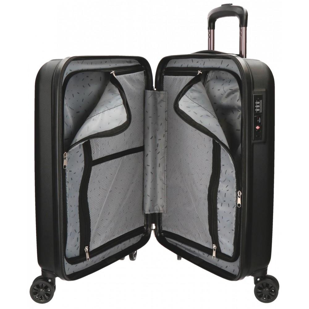 Troler cabina ABS 4 roti Movom Wood negru, 55x40x20 cm