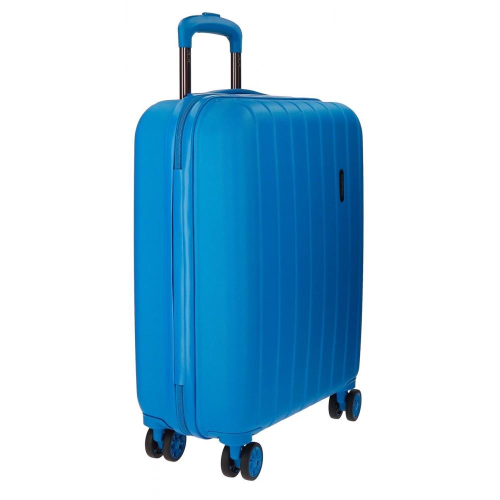 Troler cabina ABS 4 roti Movom Wood albastru, 55x40x20 cm