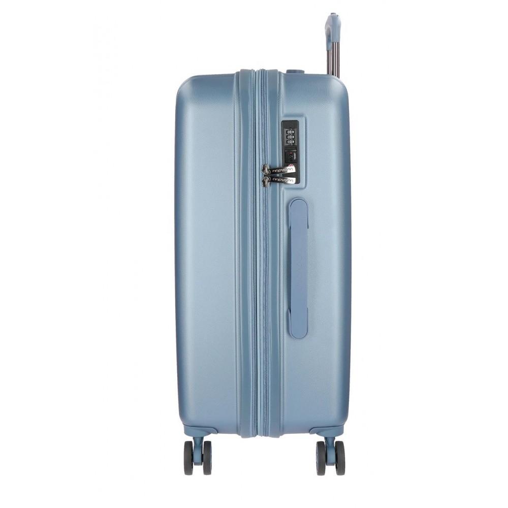 Troler mediu ABS 4 roti Movom Wood argintiu, 65x45x28 cm