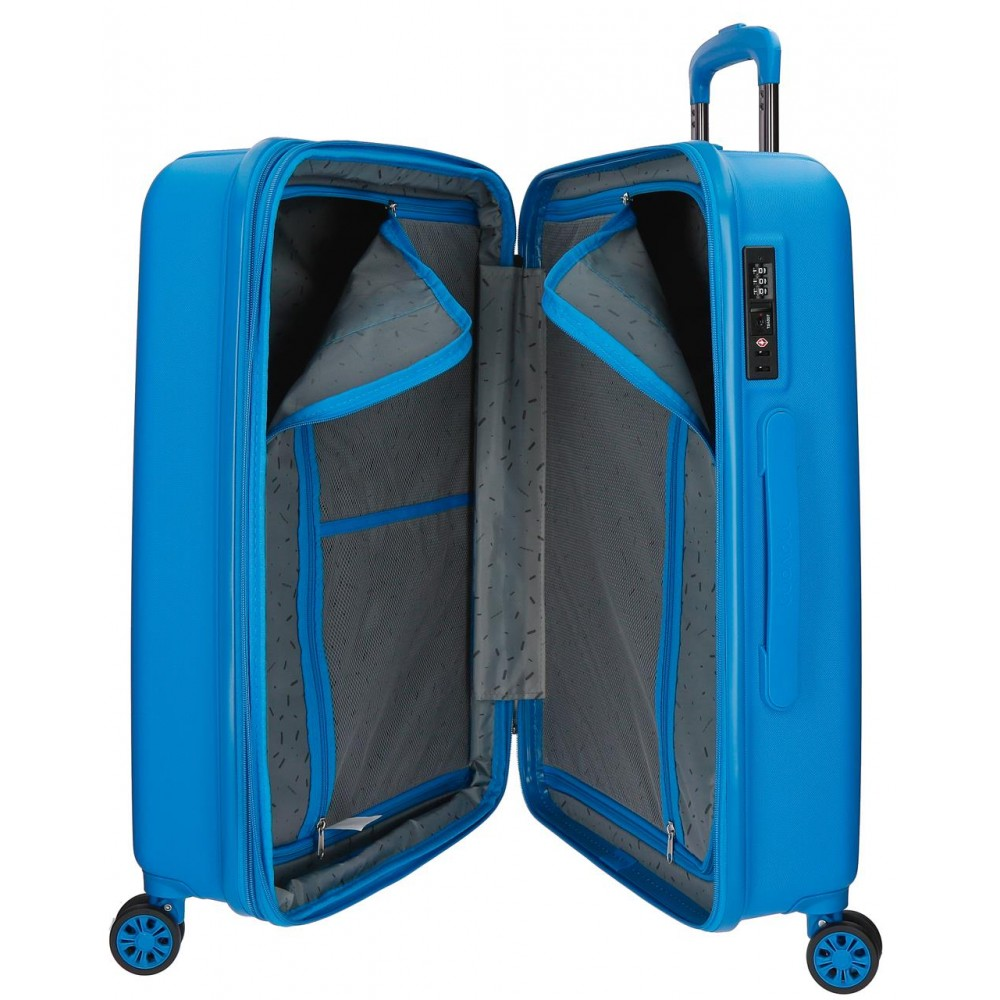 Troler mediu ABS 4 roti Movom Wood albastru, 65x45x28 cm