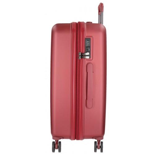 Troler ABS 75 cm 4 roti Movom Wood rosu