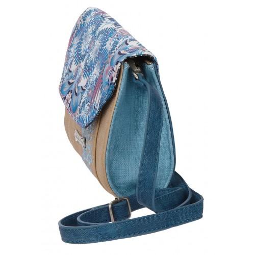 Geanta de umar brodata 20 cm Catalina Estrada Faisan albastru