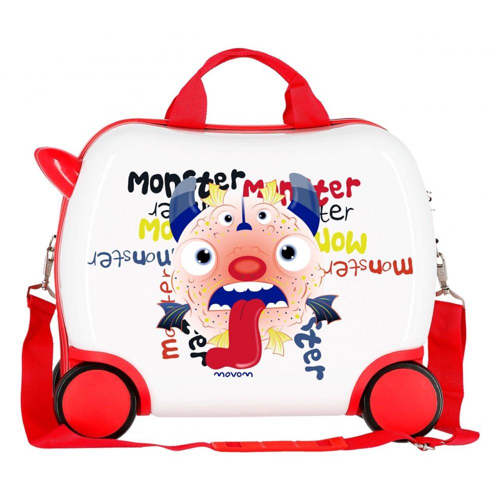 Valiza calatorie copii ABS Movom Monster, 34x41x20 cm