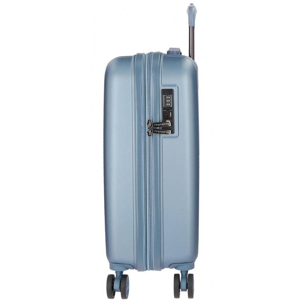 Troler cabina ABS expandabil Movom Wood, argintiu, 55x39x20 cm