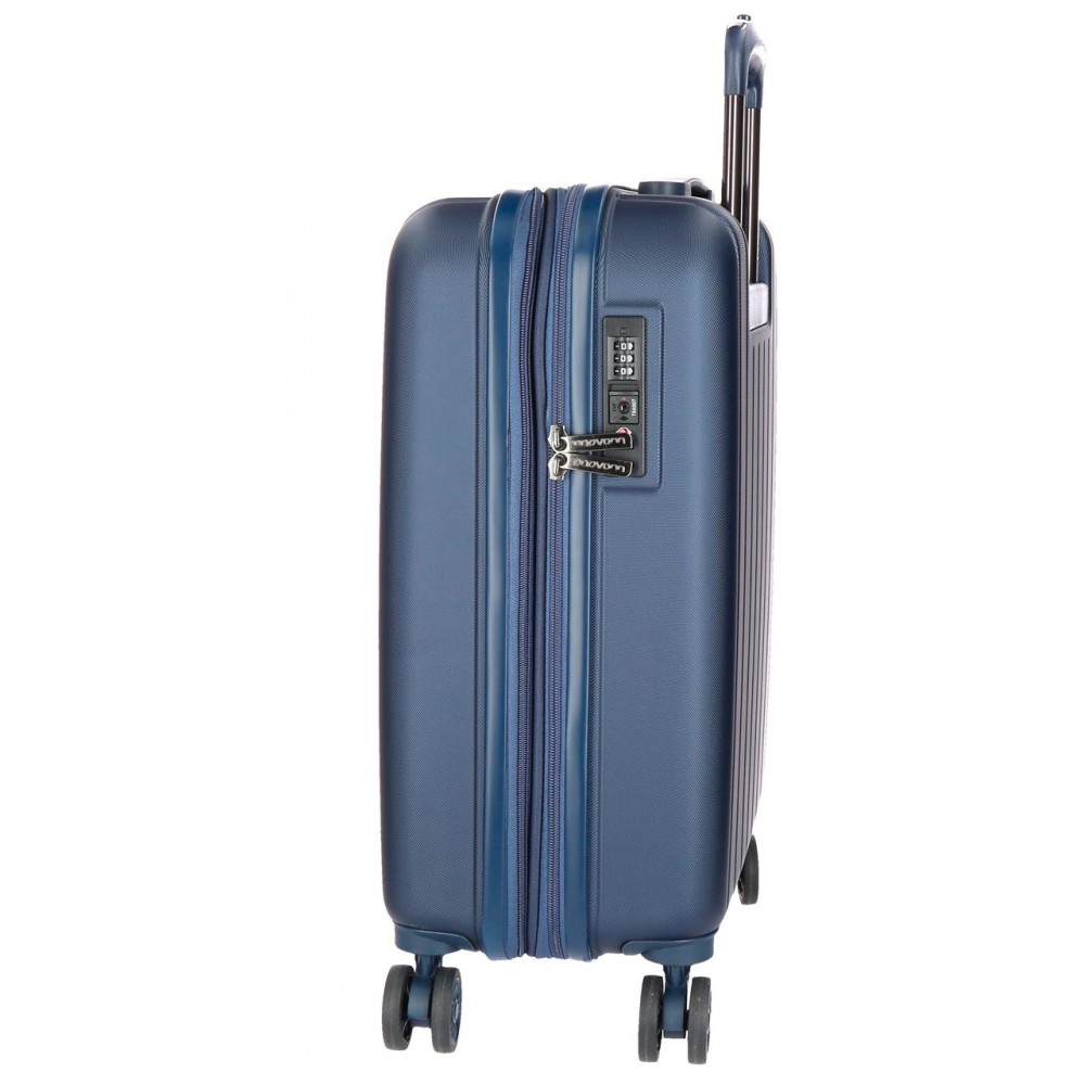 Troler cabina ABS expandabil Movom Wood, bleumarin, 55x39x20 cm