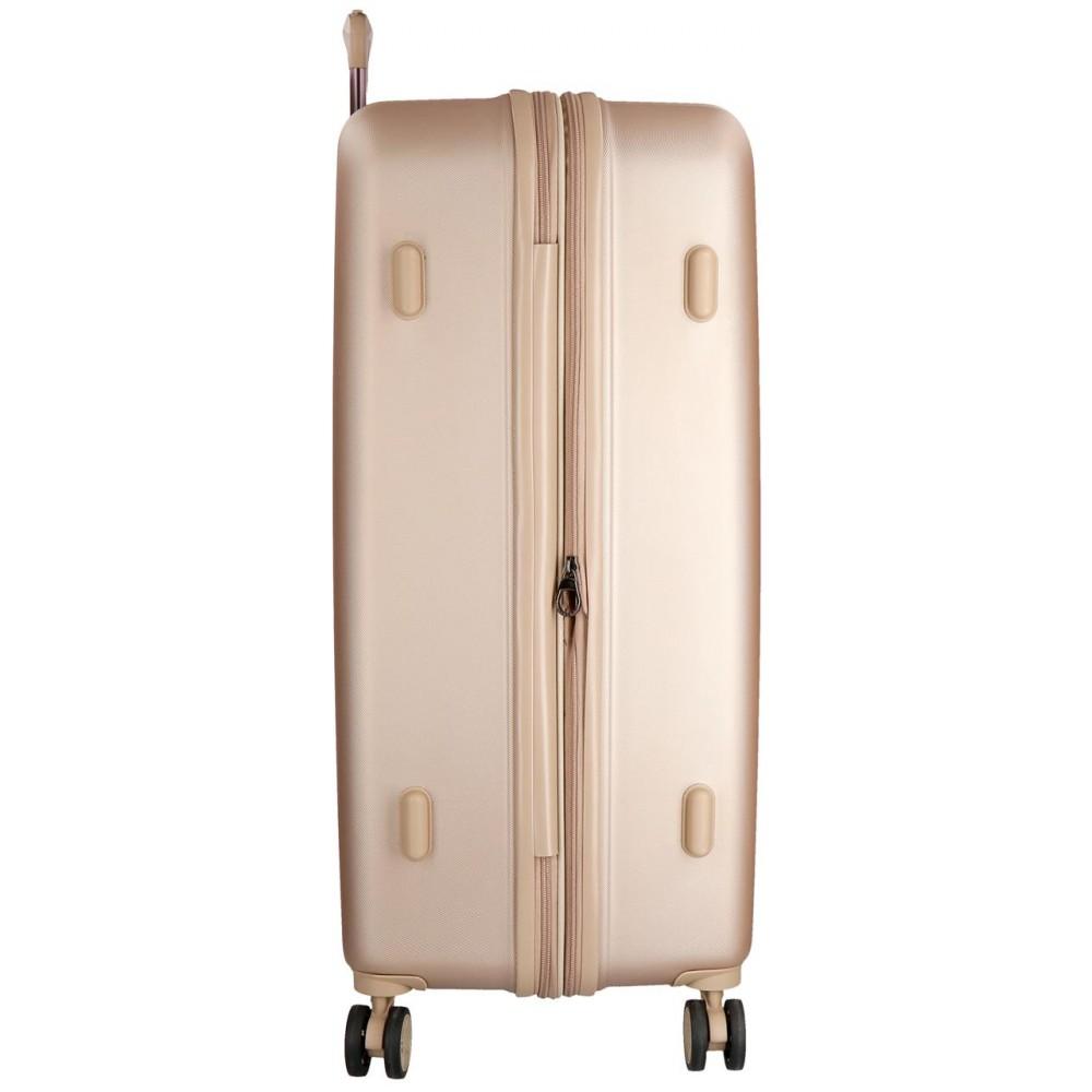 Troler mediu ABS expandabil Movom Wood, sampanie, 70x49x28 cm
