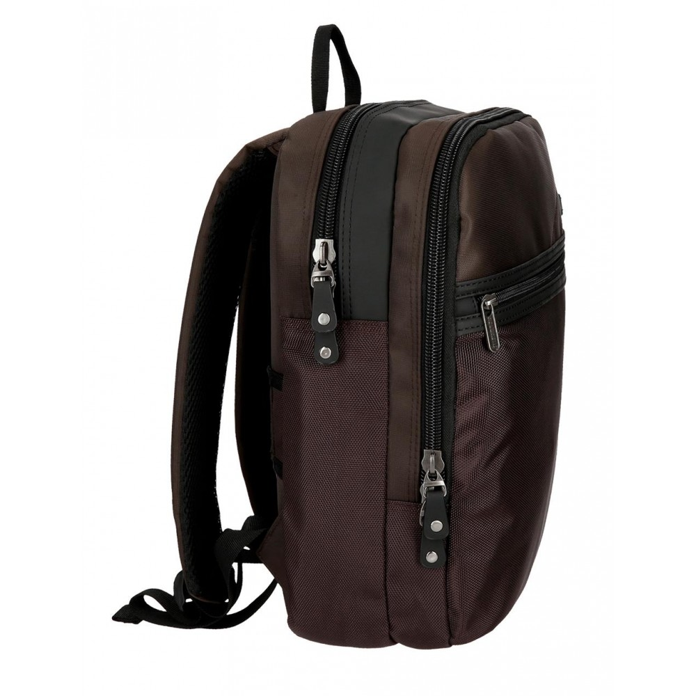 Rucsac casual, compartiment laptop Roll Road Stock maron, 27x36x12 cm