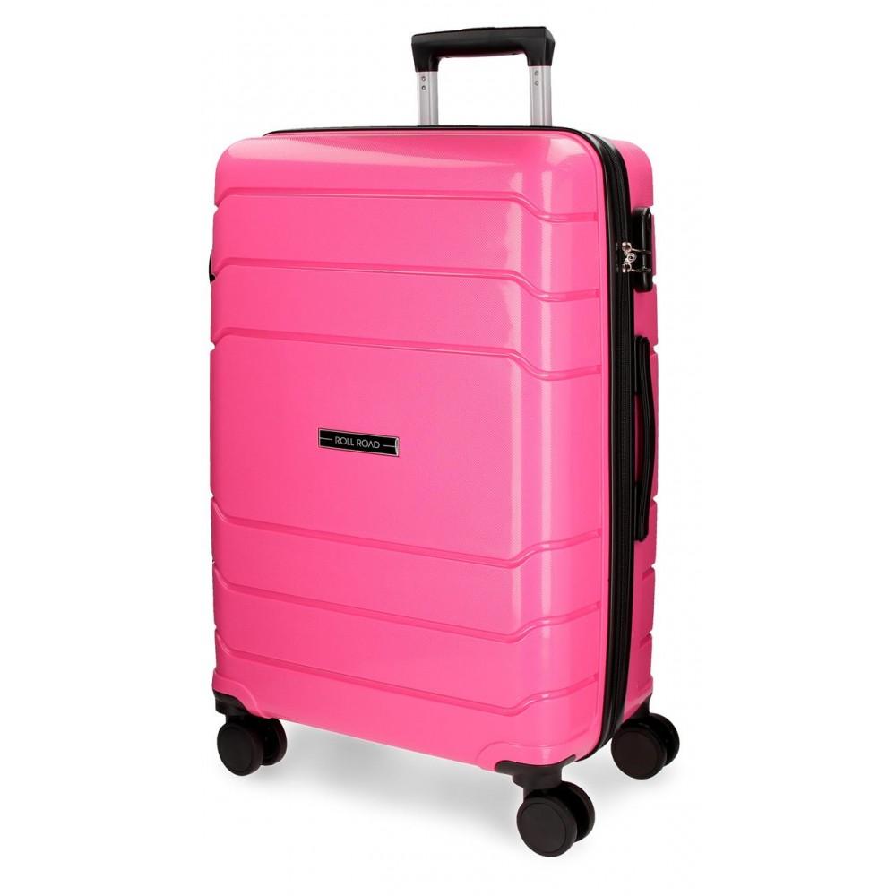 Troler polipropilena Roll Road Fast roz intens, 68x46x26 cm