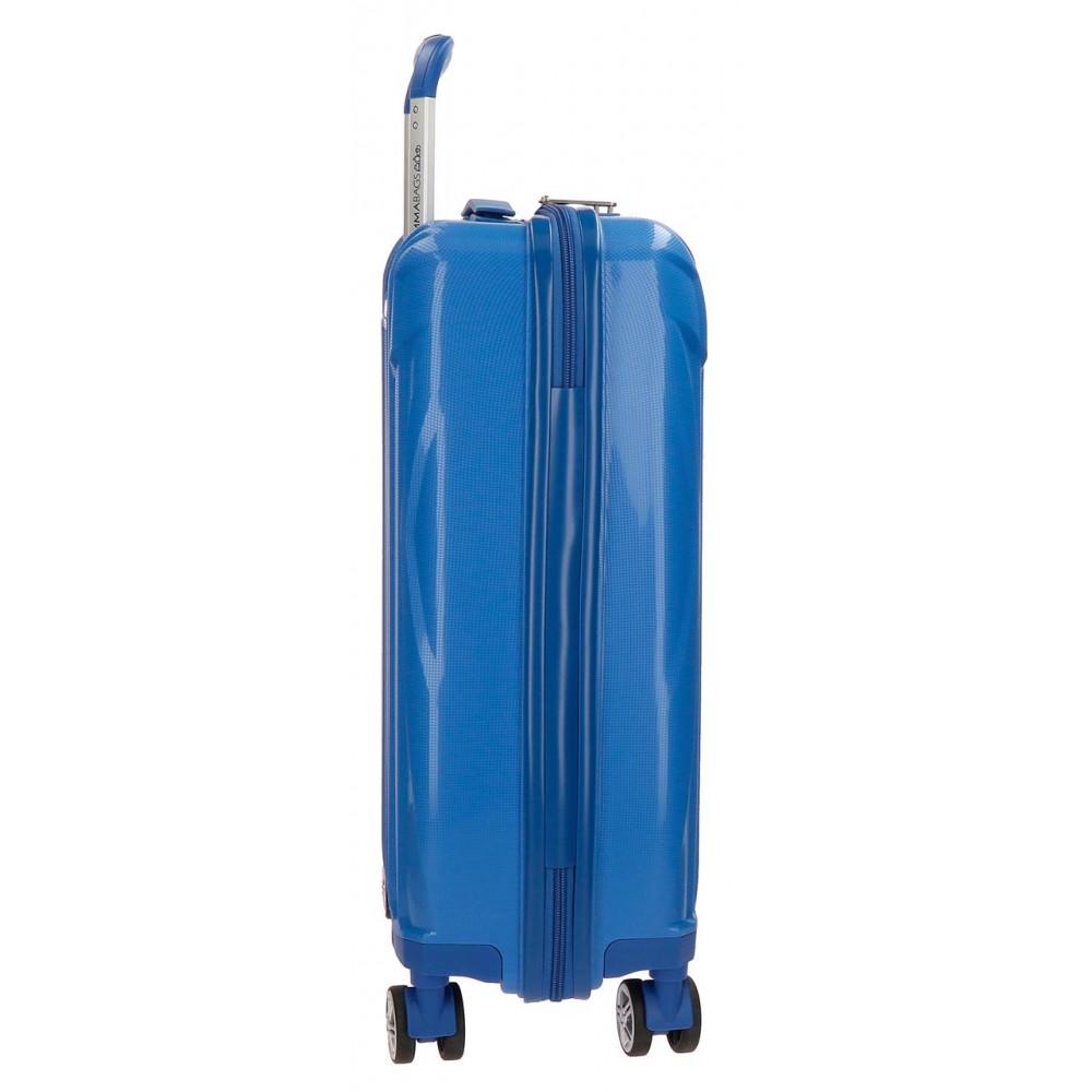 Troler cabina polipropilena 4 roti albastru Movom Fuji, 55x38x20 cm