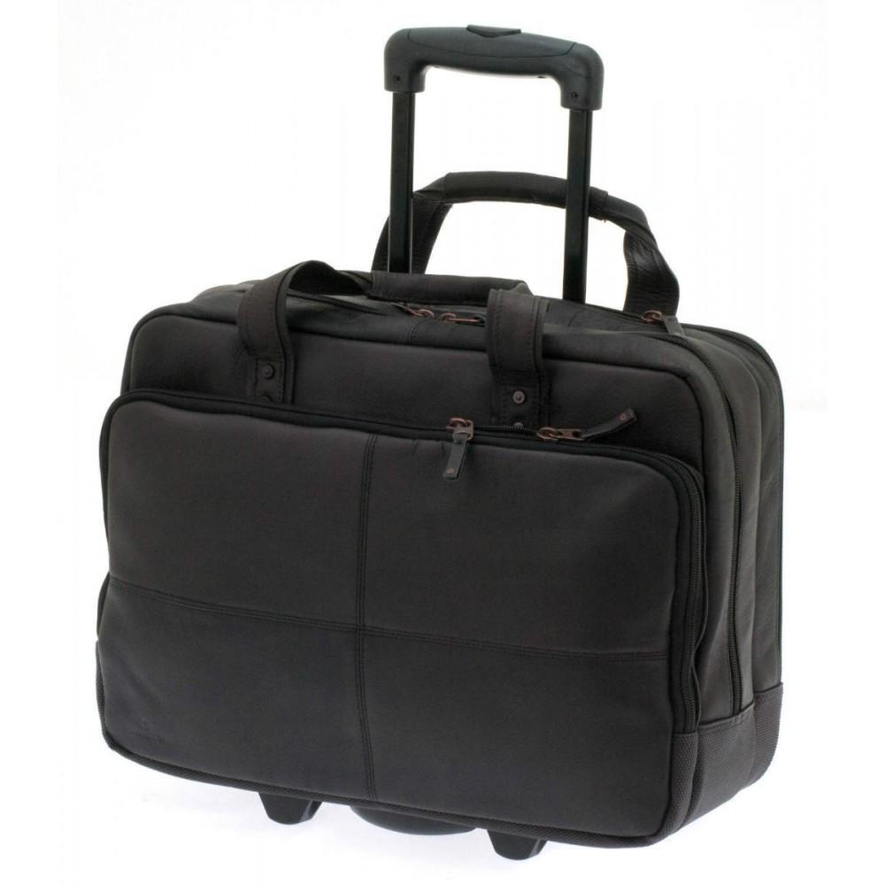 Geanta multifunctionala, compartiment laptop maron inchis Davidts Leyden, 44x35x17 cm