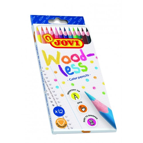 Creioane colorate din lemn 12 culori/set Jovi Woodless