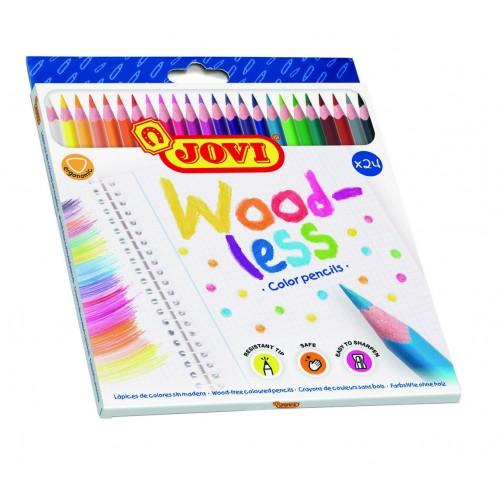 Creioane colorate din lemn 24 culori/set Jovi Woodless