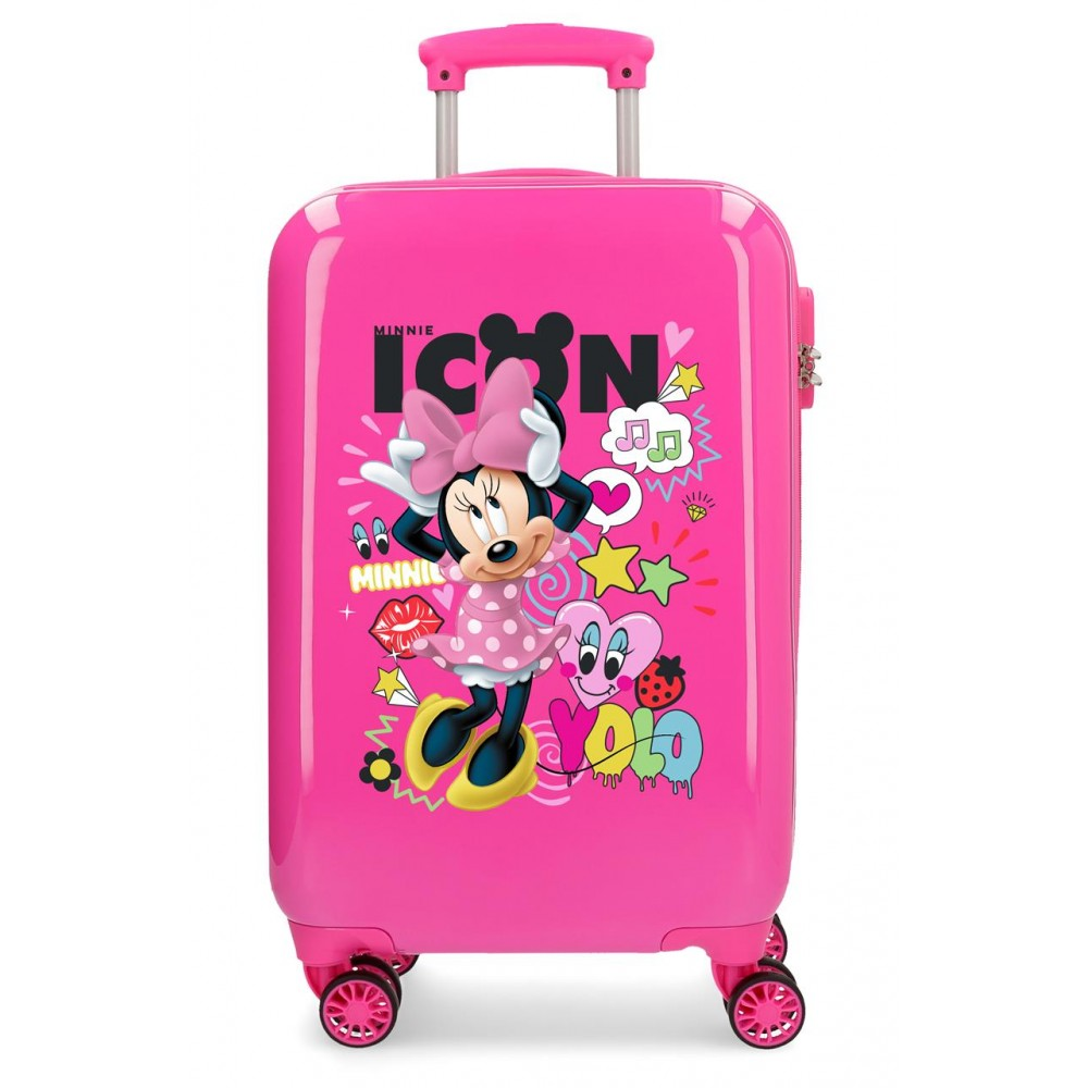 Troler copii, cabina, ABS 4 roti Enjoy Minnie Icon, 55x34x20 cm