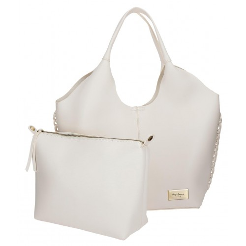 Geanta tote Pepe Jeans Angelica crem