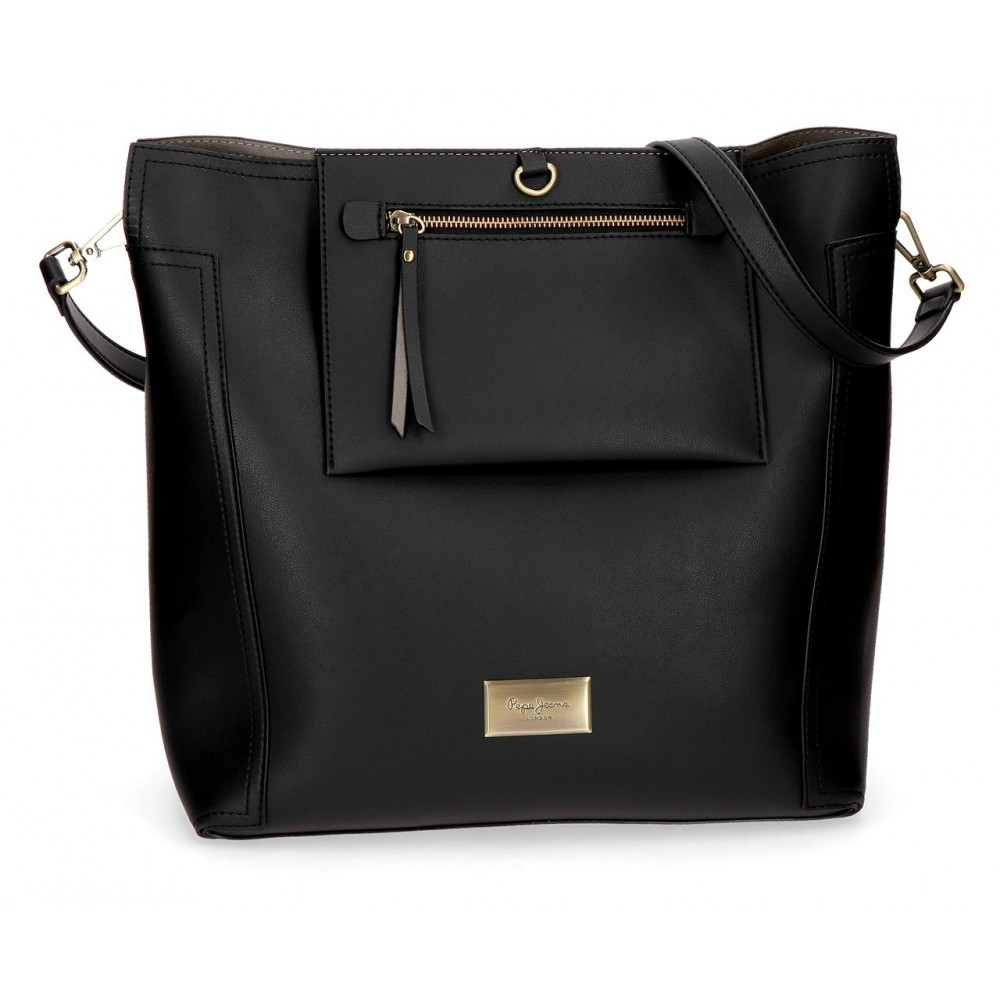 Geanta shopping dama Pepe Jeans Angelica negru, 34x35x17 cm