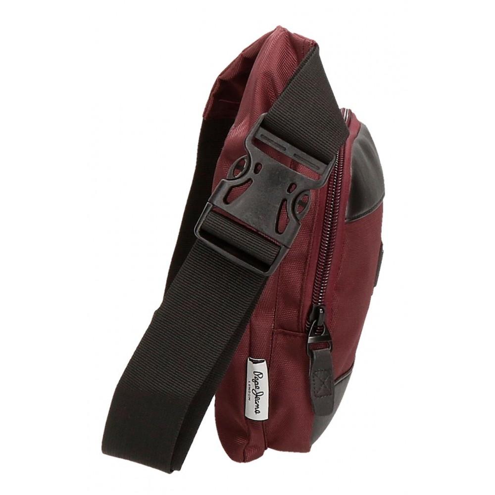 Borseta brau barbati Pepe Jeans Lambert burgundy, 31.5x24x2 cm