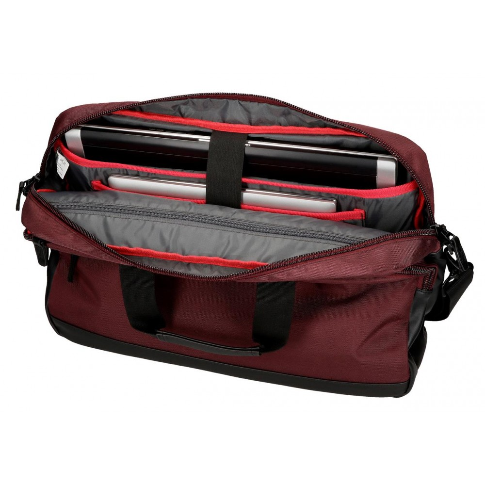 Geanta umar, compartiment laptop / tableta Pepe Jeans Lambert burgundy, 40x30x8 cm