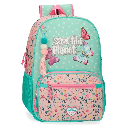 Rucsac adaptabil scoala 42 cm Movom Save the Planet din material reciclabil