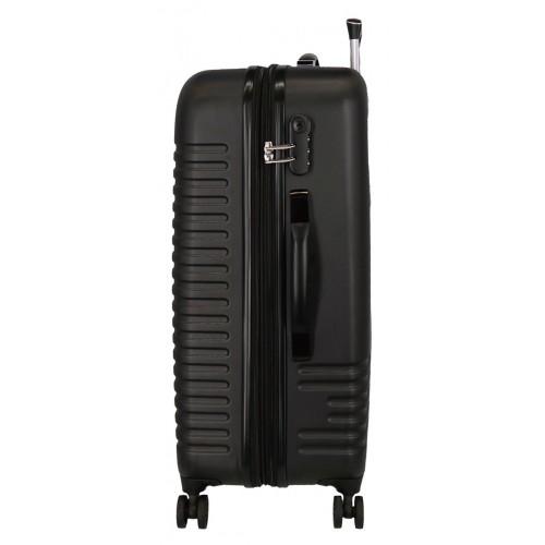 Troler expandabil ABS 70 cm 4 roti Roll Road India negru