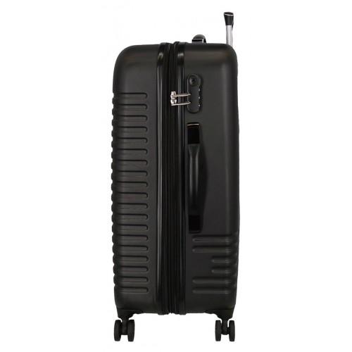 Troler expandabil ABS 80 cm 4 roti Roll Road India negru