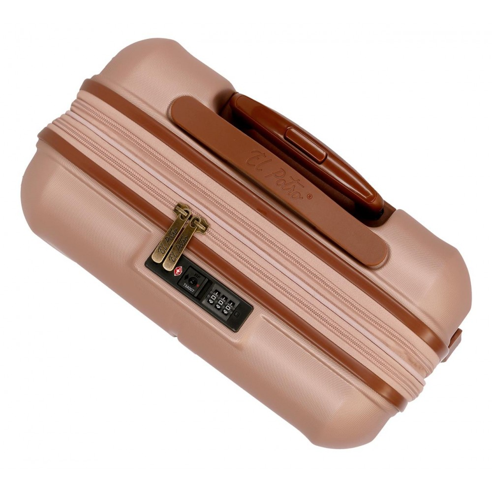 Troler expandabil ABS 4 roti El Potro Ocuri roz, 55x40x20 cm
