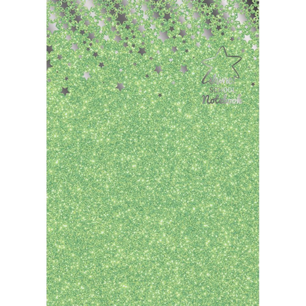 Notebook A4, 60 file, hartie 75 g, coperta cartonata din carton de 1,5 mm si hartie glitterata 130 g, Shine matematica