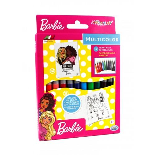 Set de 12 carioci cu vârf subtire Barbie + brosura cu 8 imagini de colorat