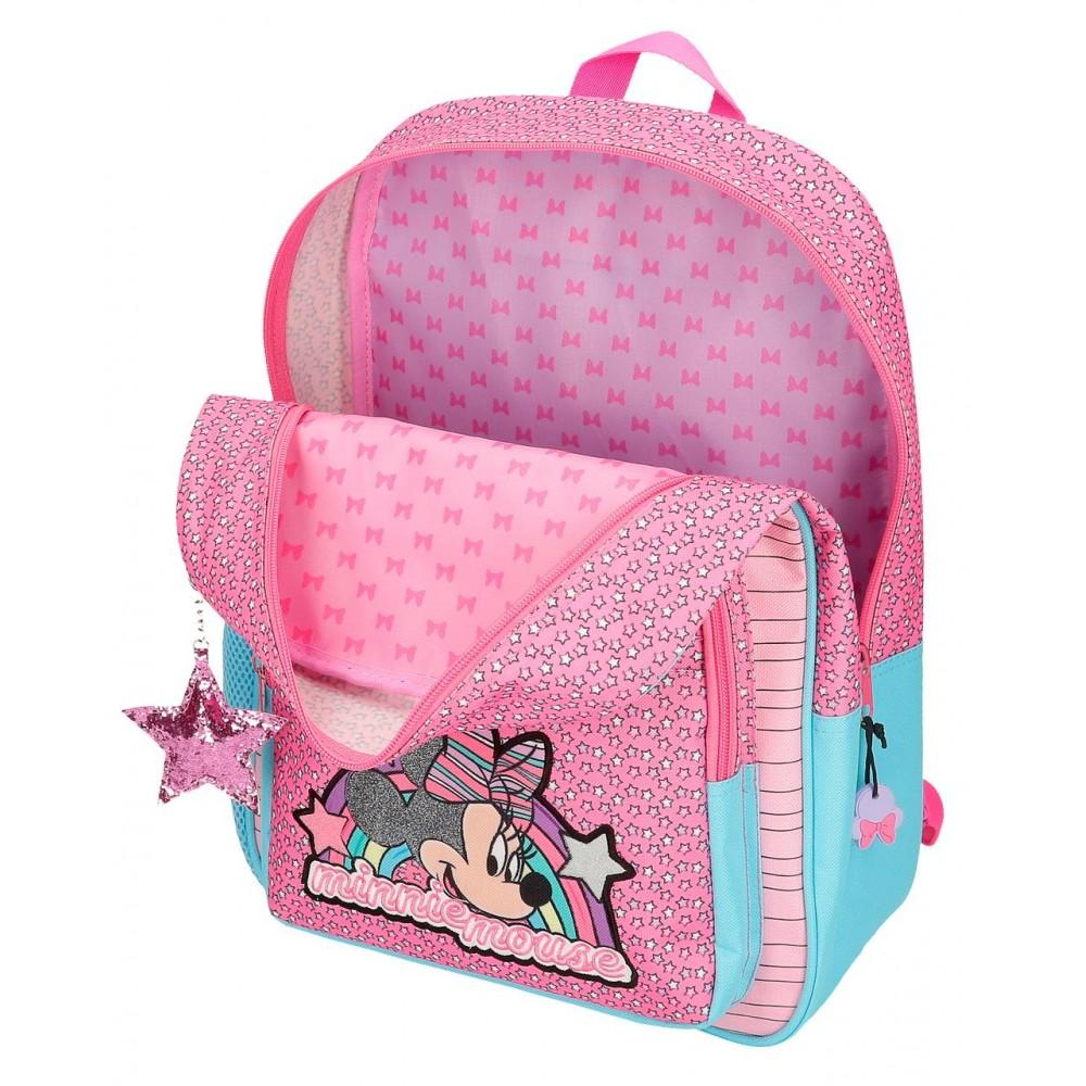 Ghiozdan scoala fete Minnie Pink Vibes, 38x30x12 cm