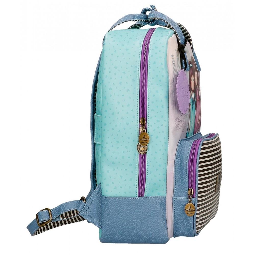 Rucsac scoala fete, compartiment laptop Gorjuss Friends Walk Together, 40x29x13 cm
