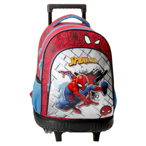 Ghiozdan troler 2 roti, 45 cm, Spiderman Red