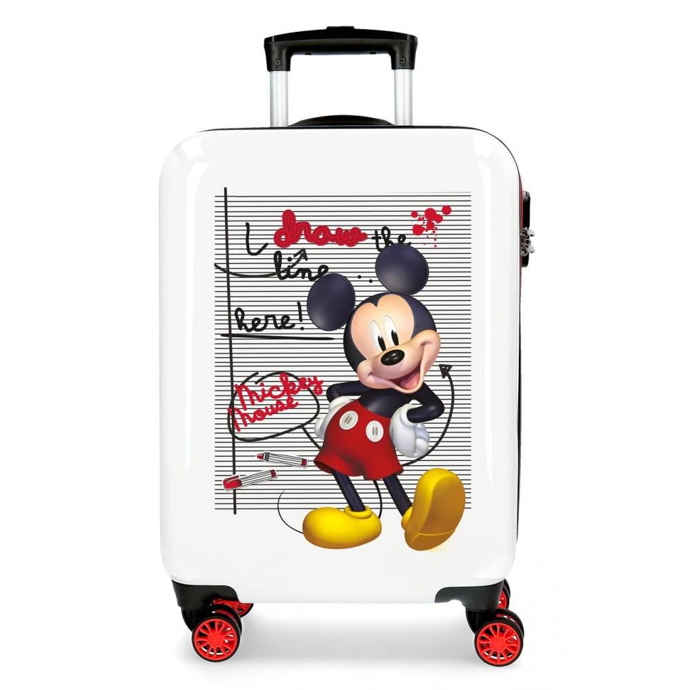 Troler copii, cabina, ABS 4 roti Mickey Draw The Line, 55x38x20 cm