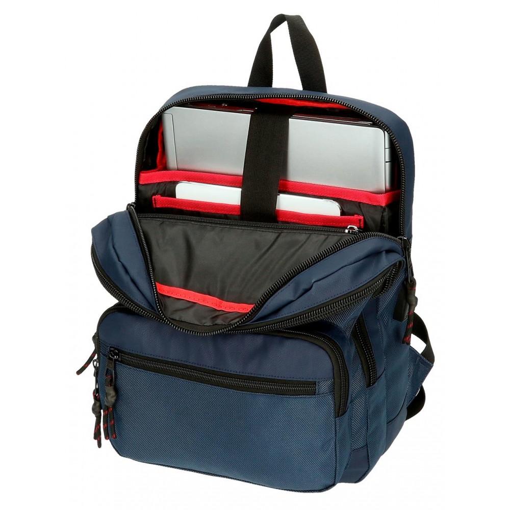 Rucsac casual, compartiment laptop/tableta Pepe Jeans London Bromley albastru, 27x36x12 cm