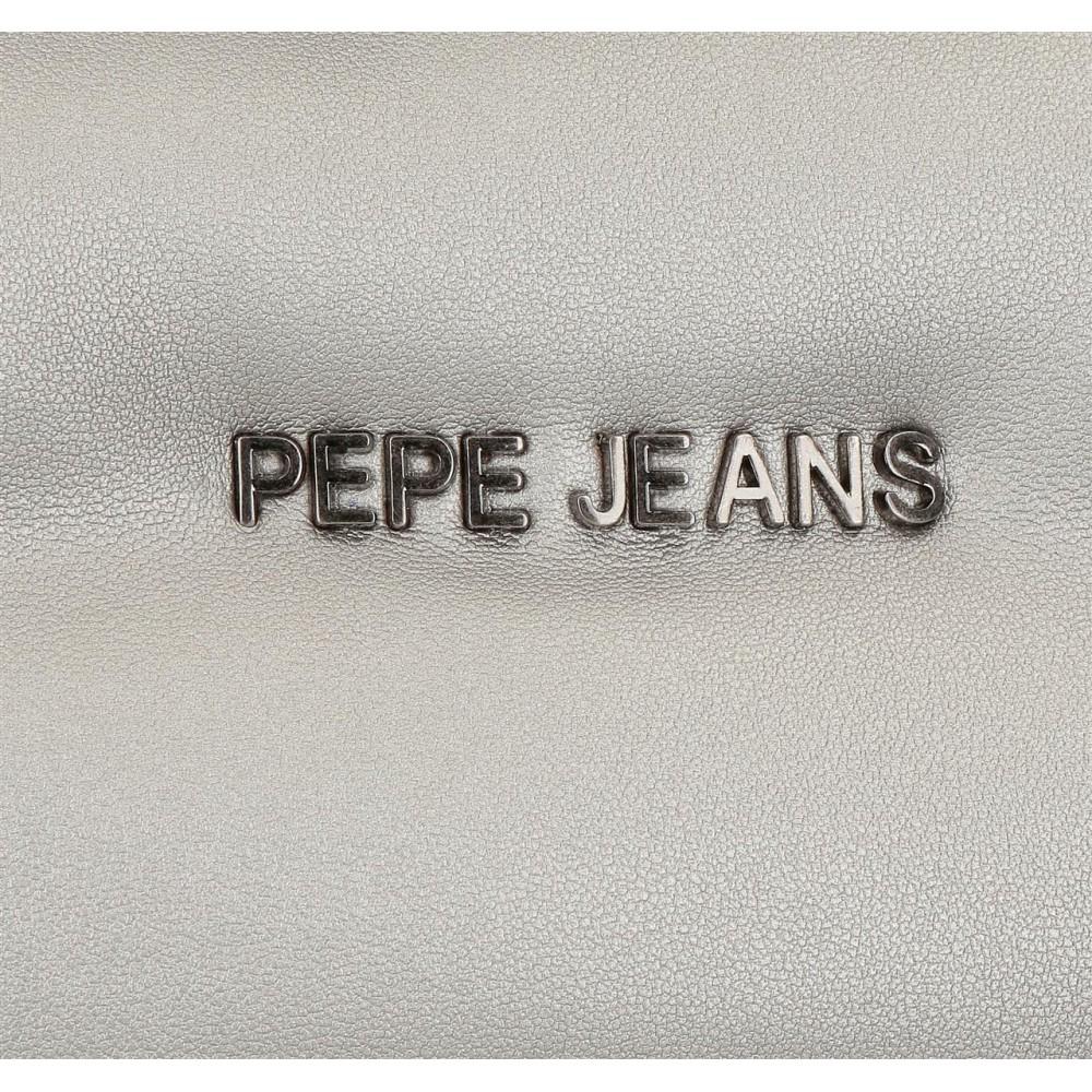 Geanta mana dama Pepe Jeans Bloat argintie, 26x27x16 cm