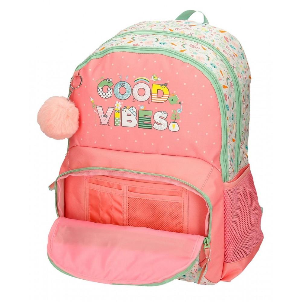 Rucsac fete scoala Movom Good Vibes, multicolor, 33x46x17 cm