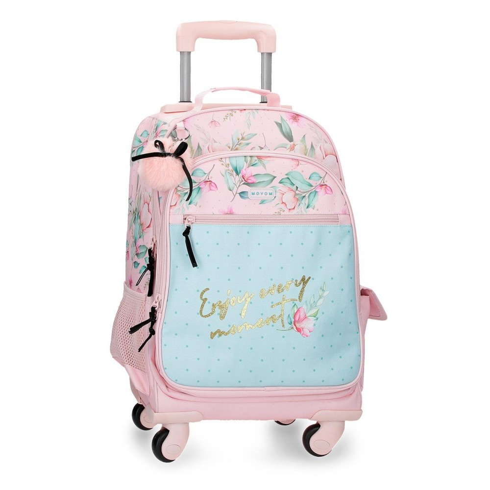 Rucsac Troler fete Movom Enjoy Every Moment, multicolor, 33x44x21 cm