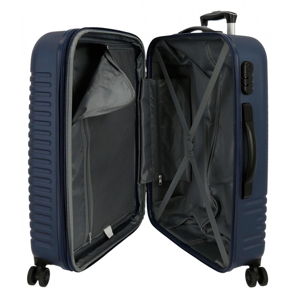 Troler mediu, expandabil ABS 4 roti Roll Road India bleumarin, 70x48x27 cm