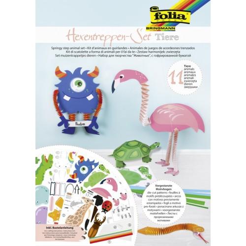 Set creativ pentru 11 figurine Springy Animal, Folia