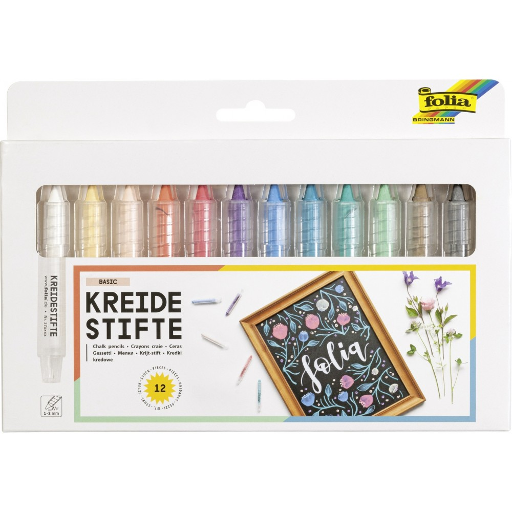 Set 12 creioane colorate din creta Folia