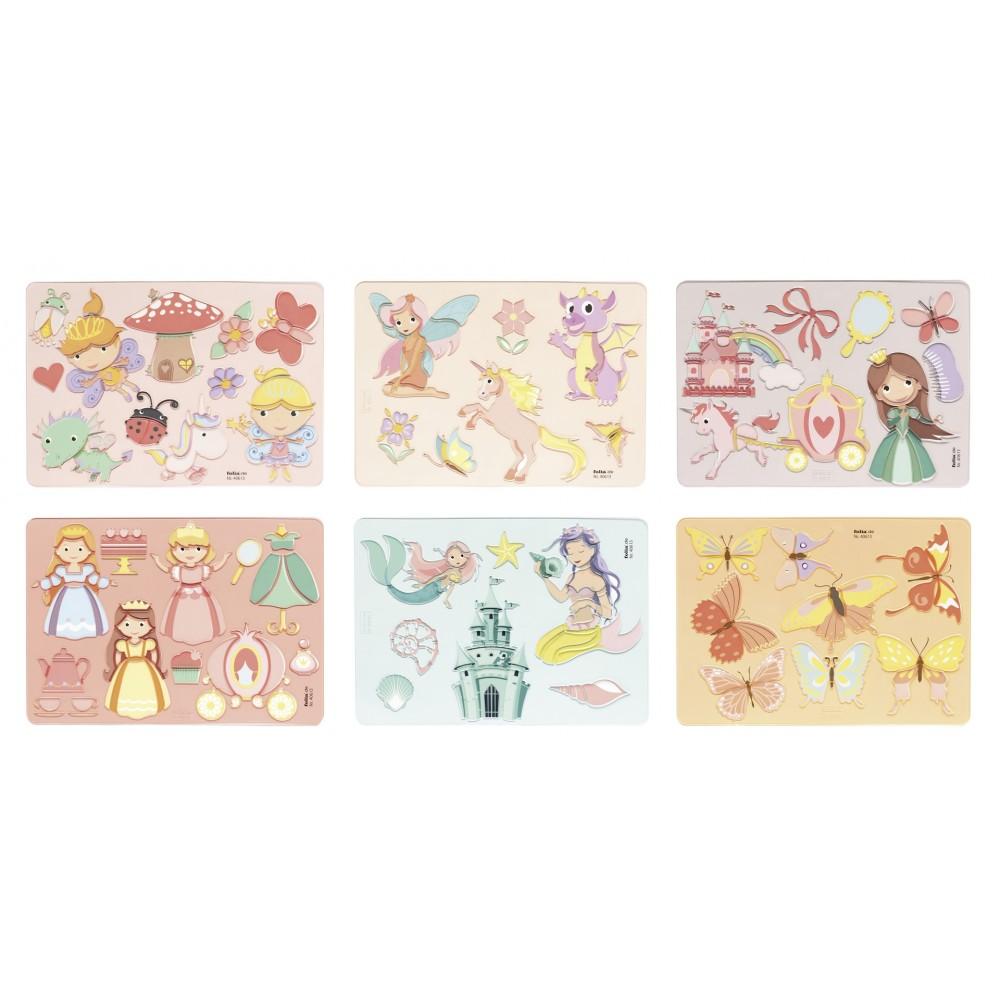 Sabloane creative Princess, set 6 bucati, Folia