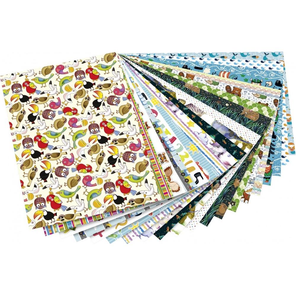 Set creativ Pad Kids, 20 foi cartonate cu model, culori asortate 24x34 cm Folia